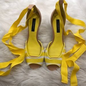 Yellow Tie Up Ann Taylor Wedges